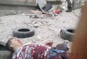 Man, still breathing after Ukrainian army bombing.