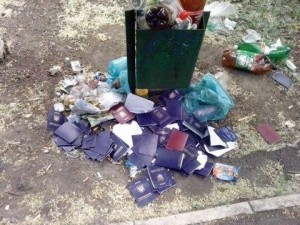Ukrainian passports discarded by Ukraine's citizens after internal Ukrainian troops started killing innocent civilians in what used to be south-eastern Ukraine