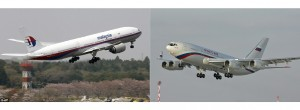 On the right is a Malaysian plane Boeing 777, on the left is a plane of Russian president Vladimir Putin