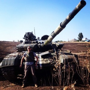 Ukrainian tank left by the army as they retreat