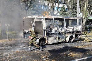 Ukrainian army destroyed city bus in Donetsk