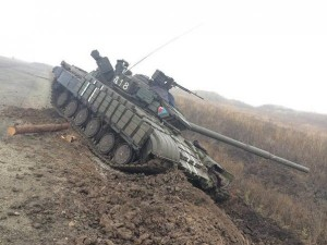 Ukrainian rescue tank stuck in a ditch